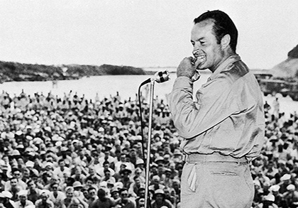 Richard Zoglin's new book,Hope, is a biography of the comedian Bob Hope. Here, Hope performs for servicemen at Munda Airstrip, New Georgia, Solomon Islands, in 1944